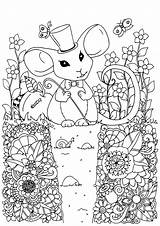 Coloring Mouse Hat Pages Adult Mice Flowers Mouses Magic Animals Adults Justcolor Illustration Magician Printable Garden Drawing Valley Tea Magicians sketch template