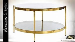 Table Basse Dorée : table basse ronde inox poli dor 2 plateaux verre tremp 81 cm int rieurs styles ~ Teatrodelosmanantiales.com Idées de Décoration