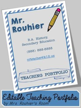 editable teaching portfolio template blue stripes