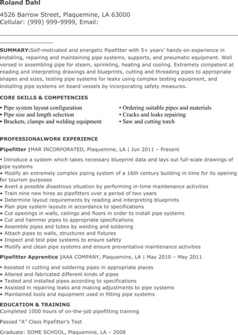 Pipe Fitter Resume by Pipefitter Resume Templates For Excel Pdf And Word