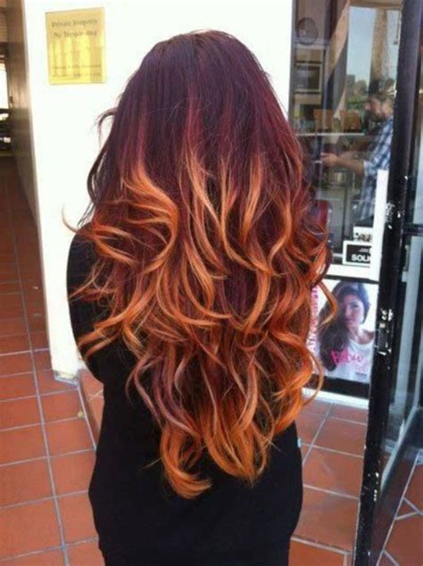 red ombre hair color  thick hair hairstyles weekly