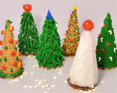 cake filled sugar cone christmas trees classroom holiday