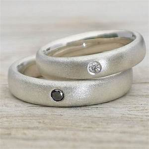 Handmade Frosted Silver Diamond Wedding Rings By Lilia