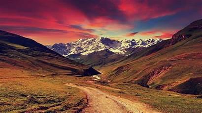 Sunset Mountains Landscape Nature Background 4k Desktop