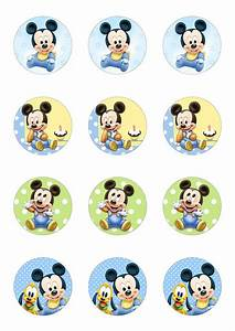 12 x 5cm Round Cute Baby Mickey Mouse Edible Wafer Paper