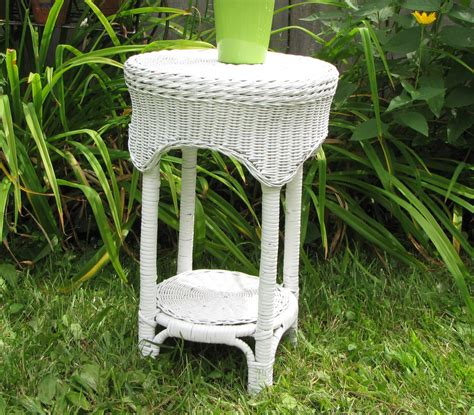 small wicker side table white wicker table small end table or outdoor table
