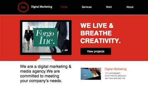 digital marketing websites advertising marketing website templates business wix