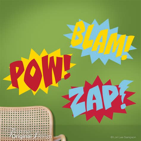 three color superhero wall decals comic book sound by twistmo