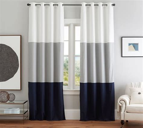 color block curtains color block drape with polished nickel grommet set of 2