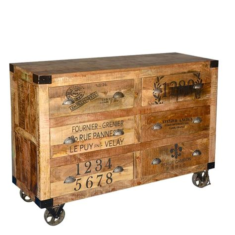 Storage Drawers On Casters by Industrial Hardwood 6 Storage Drawers Rolling Dresser With