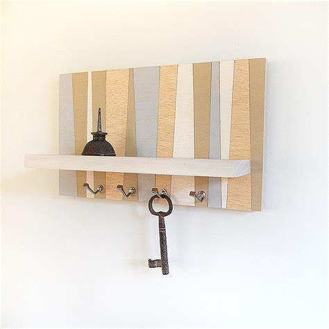 Hanging Wooden Shelf Decorative Stripe Geometric Key Rack