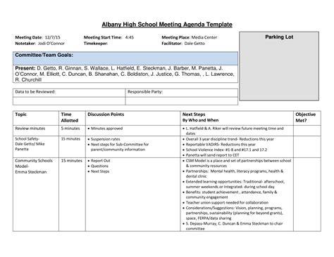 high school agenda templates  allbusinesstemplatescom