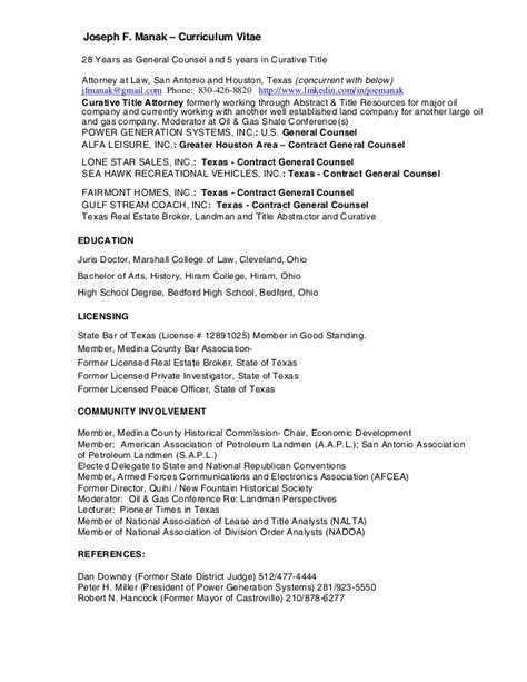 resume for joseph f manak