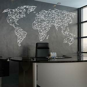 world map wall stickers peenmediacom With kitchen cabinets lowes with large world map wall art
