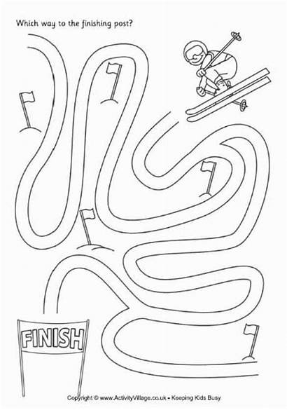 Maze Crafts Ski Winter Olympic Olympics Coloring