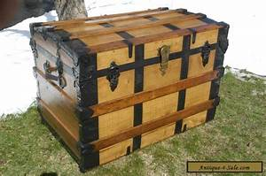 antique victorian steamer trunk wood oak slats chest With wooden trunk coffee table for sale