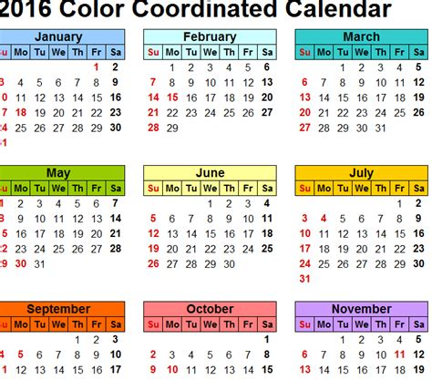 colorful calendar  excel templates