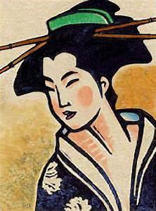 Geisha Indigo Kimono Painting by Shawn Shea