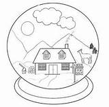 Snow Coloring Globes Crystal Ball Pages Christmas Sketch Globe sketch template