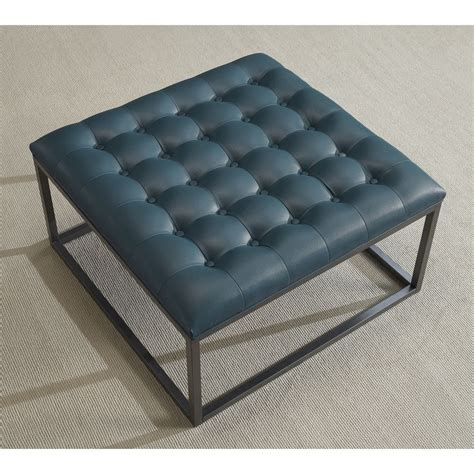 Blue Leather Ottoman Coffee Table by Healy Teal Leather Tufted Ottoman Teal Blue Foam