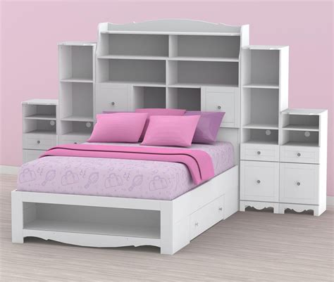 Cheerful King Size Bed Bookcase Headboard Storage With