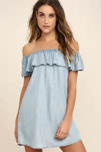 light blue off the shoulder dress cute off the shoulder dress chambray dress shift dress