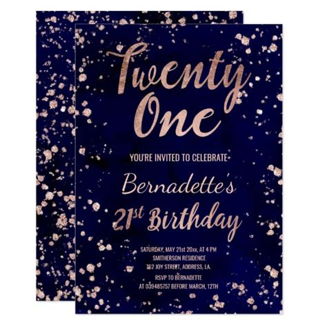 Rose gold confetti navy watercolor 21st Birthday