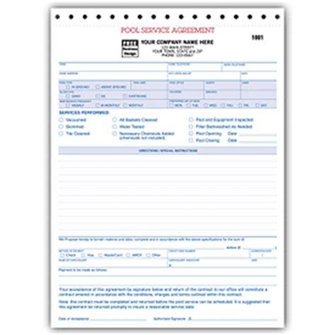 Pool Service Contract Agreements, Template, 6577 Deluxecom