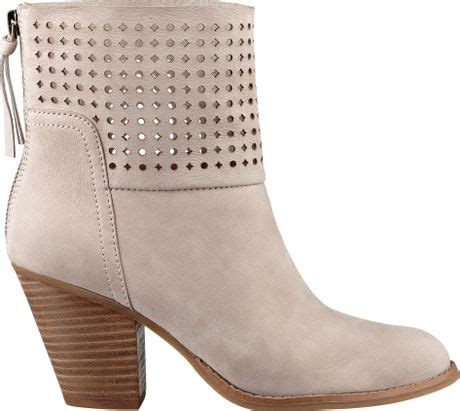 light grey booties nine west hippychic booties in gray light grey nubuck lyst