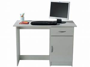 Petit Bureau Pour Ordinateur : bureau 1 porte 1 tiroir osiris coloris blanc vente de bureau conforama ~ Teatrodelosmanantiales.com Idées de Décoration