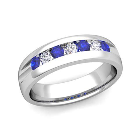 mens wedding band   gold channel set diamond sapphire