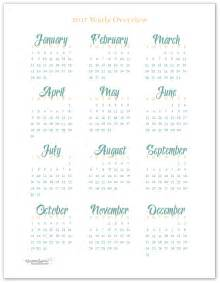 2017 Year at Glance Calendar Printable