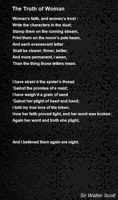 truth  woman poem  sir walter scott poem hunter
