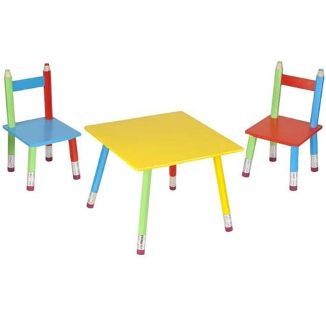 chambre de culture salon pour enfant crayons 1 table et 2 chaises achat