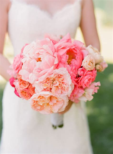 Blush Pink And Peach Peonies Wedding Bouquet