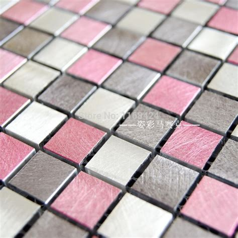 pink aluminum alloy metal mosaic tiles ehm1062 for kitchen