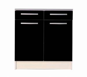 Meuble bas de cuisine noir 80 cm 2 portes avec plan de travail Meuble et décoration Marseille