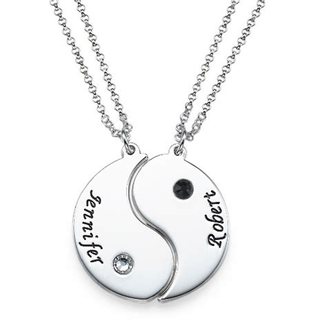 personalized silver gifts engraved yin yang necklace for couples mynamenecklace