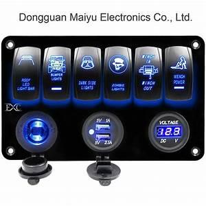 China 6 Gang Rocker Switch Panel Digital Voltmeter 12v