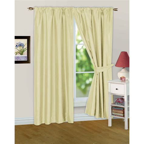 faux silk ready made fully lined curtains and tiebacks
