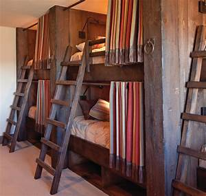 Cabin bunk beds kids rustic with wood paneling corrugated