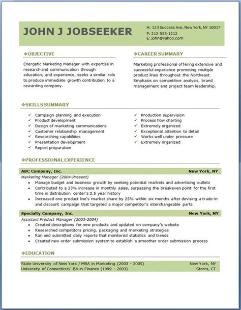 ideas  professional resume format