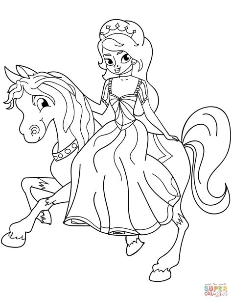 princess riding horse coloring page  printable