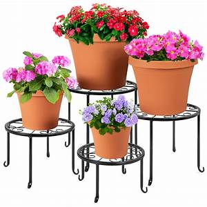 best, choice, products, set, of, 4, indoor, outdoor, metal, plant, stands, , flowerpot, holders, for, home