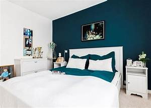 deco salon couleur de peinture pour chambre bleu petrole With idee de peinture pour chambre