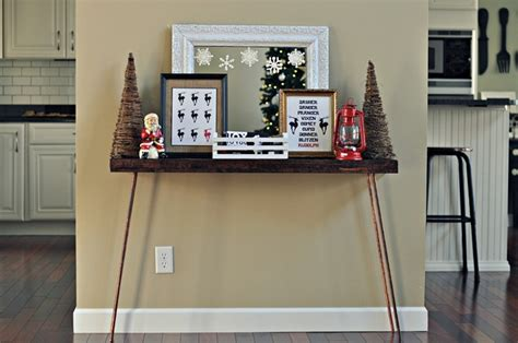 holiday console table decor   dog