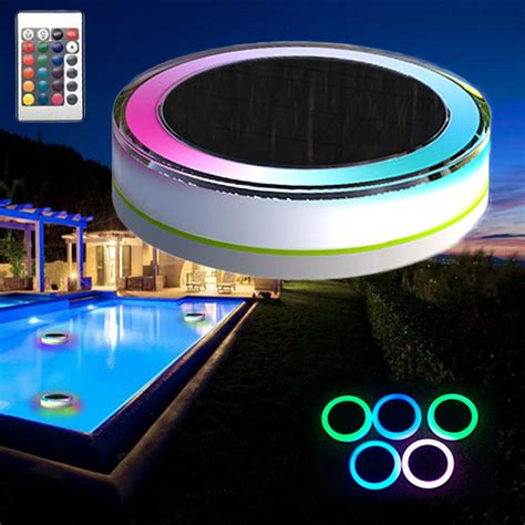 remote solar power led colorful swimming pool