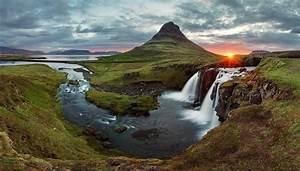 Nature, Sunset, Iceland, Waterfall, Kirkjufell, Wallpapers