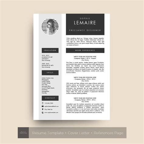 resume template with photo cv cover letter references for ms word professional creative