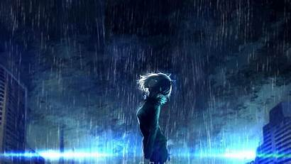 Anime Raining Night Dark Scenic Rain Theme